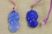 Vintage Pressed Cobalt Blue Glass Charm - Woman's Profile