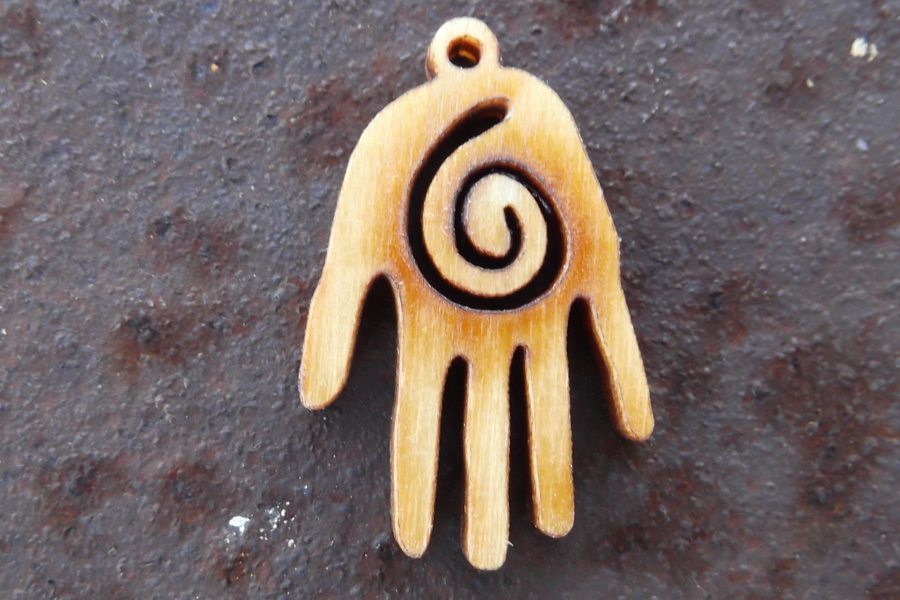 Wooden Hand Charm with Laser-Cut Spiral