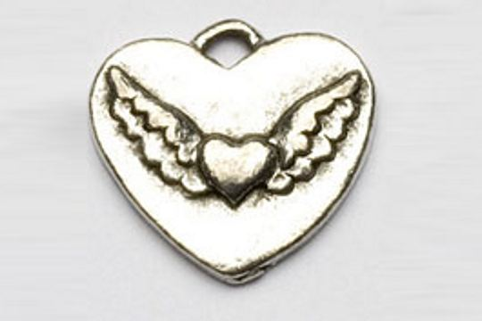 Silvery Flying Heart Charm