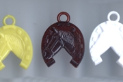 Assortment of 5 Vintage Plastic Horse in Horseshoe Charms