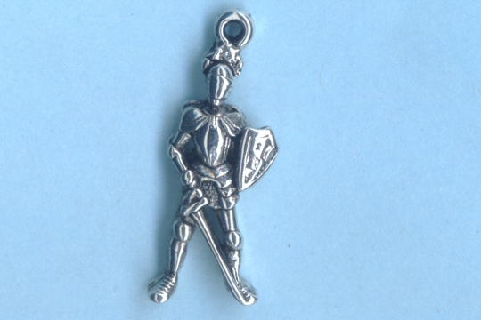 Silvery Knight in Shining Armor Charm