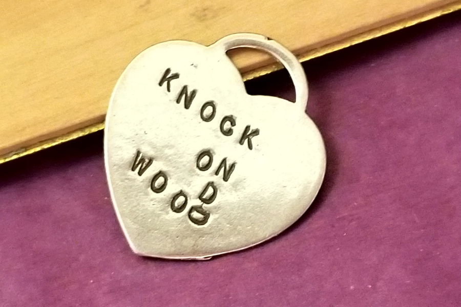 Sterling Silver Knock on Wood Heart Charm with Fun Knocking Design