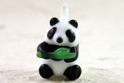 Hand-Made Glass Panda Charm with Bamboo