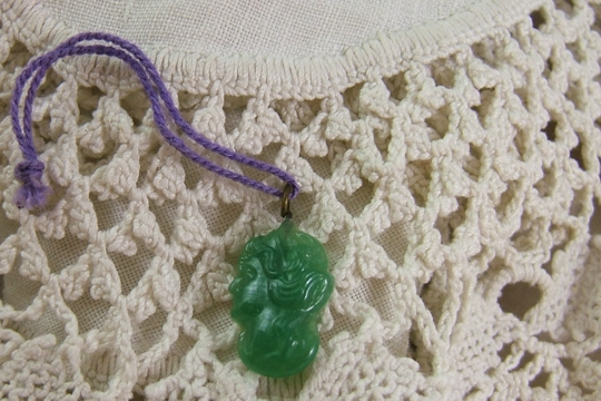 Vintage GREEN Woman's PROFILE Pressed Glass Charm