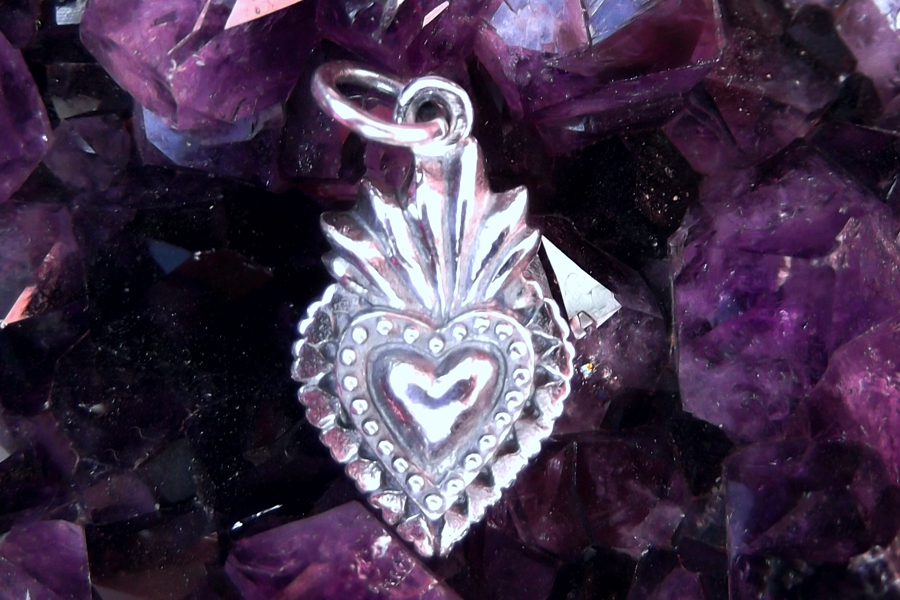 Small Sterling Silver Sacred Heart Charm