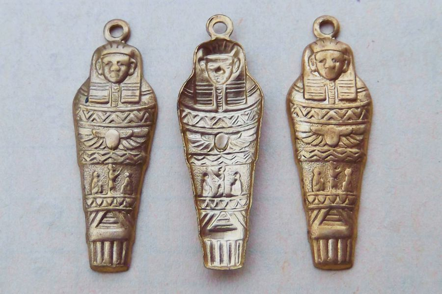 Egyptian Sarcophagus Aged Brass Charm