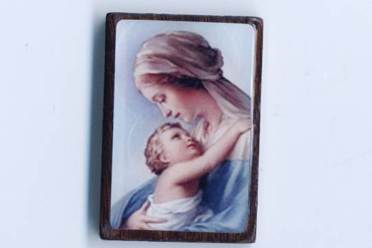 Blue Madonna and Child Wooden Component