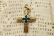 Bronze Cross with Blue Enamel Fleur-de-Lis Inlay