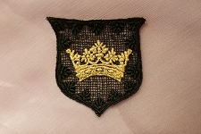Metallic Gold Crown on Black Crest Applique
