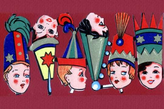 Early Die-Cut Embossed Circus Kids Victorian Scraps