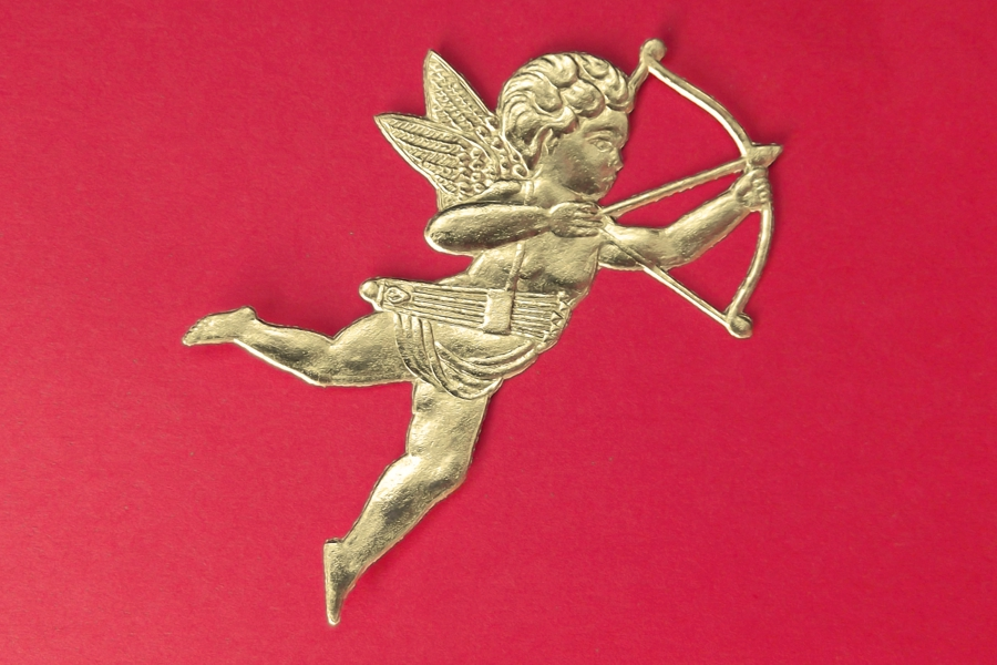 5 Vintage Golden Cupid Dresdens