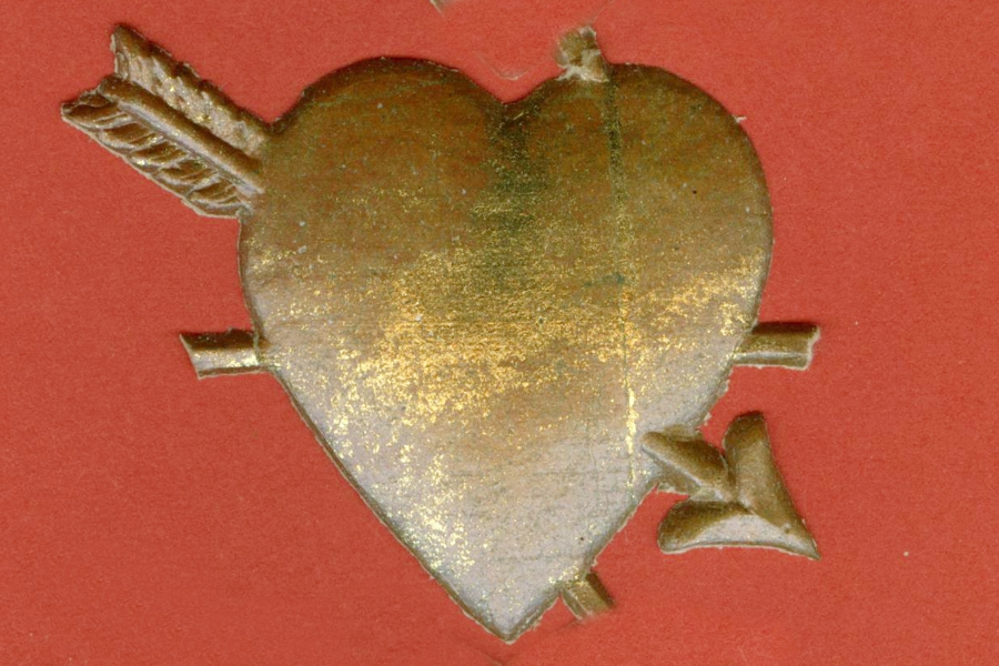 Package of 5 Vintage Cupid's Heart Golden Dresdens