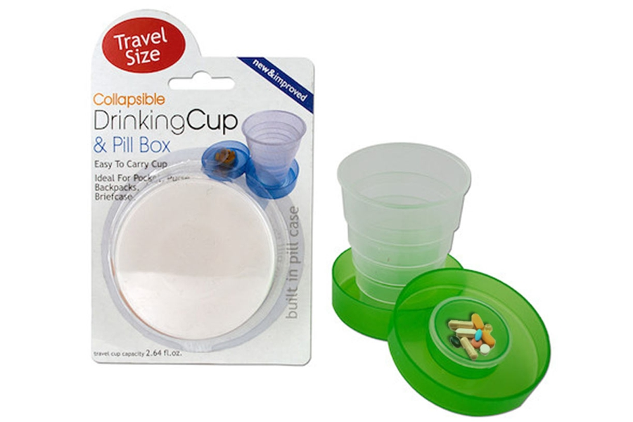 Collapsible Drinking Cup with Integral Pill Box