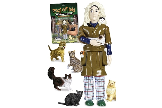 Crazy Cat Lady Action Figure complete with 6 cats!