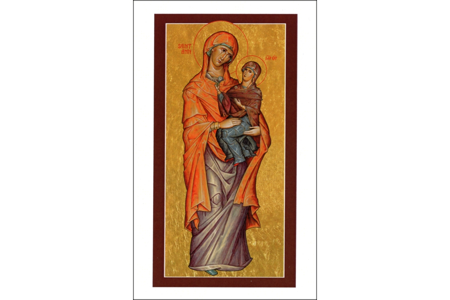 St Anne Icon Holy Cards - Patron Saint of Childless Parents, Grandparents and Pregnancy - Package of 5
