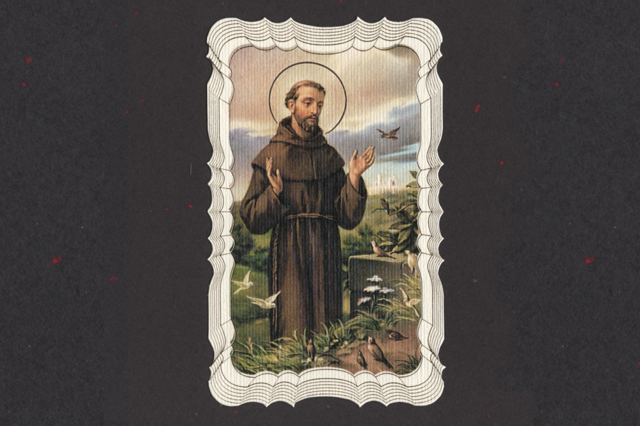 Gilded Saint Francis Prayer for my Pet Holy Card