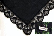 Black Cotton Lace Handkerchief with Twilight Pin