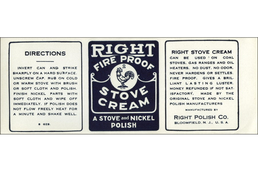 Vintage Right Fire Proof Stove Cream Can Label