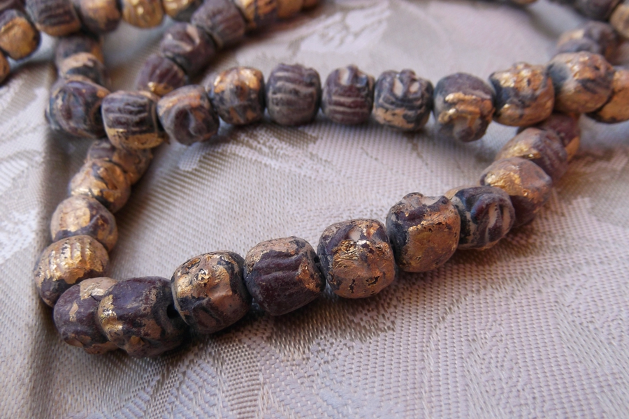 Exquisite Hand Made Gold Leafed Terra Cotta Budda Mala 108 Bead Strand