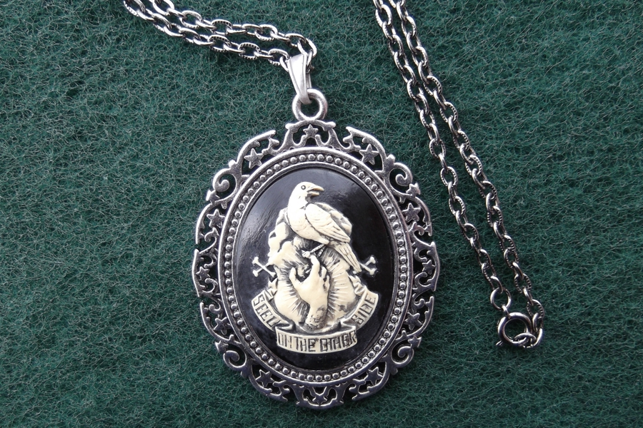 Elegant Antiqued Silver Mourning Necklace (On the Other Side)