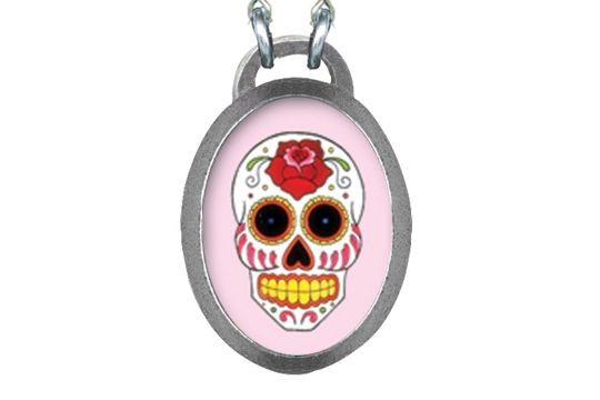 Elegant Sugar Skull Necklace on Pink Rosary Chain