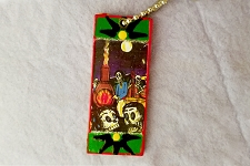 Hand Painted Day of the Dead Pendant - One of a Kind