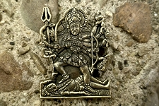 Antiqued Golden Brass Kali Pendant