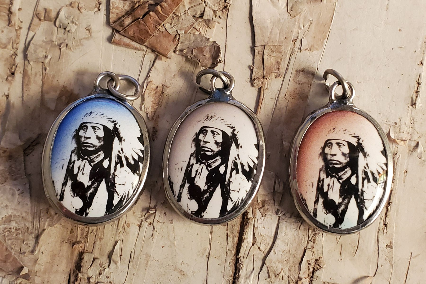 Chief Red Cloud Vitreous Enamel Pendant