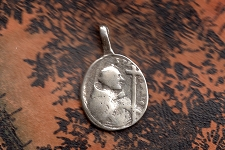 Replica of Antique Saint Francis of Assisi Medal in Sterling Silver