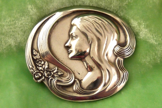 Vintage Sterling Silver Pin/Pendant - Art Nouveau Style Woman and Flowers - Signed Lunt