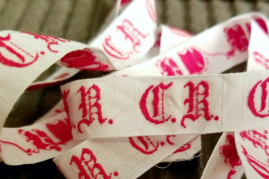 Vintage Red Embroidered Ribbon by the Repeat - C.R.