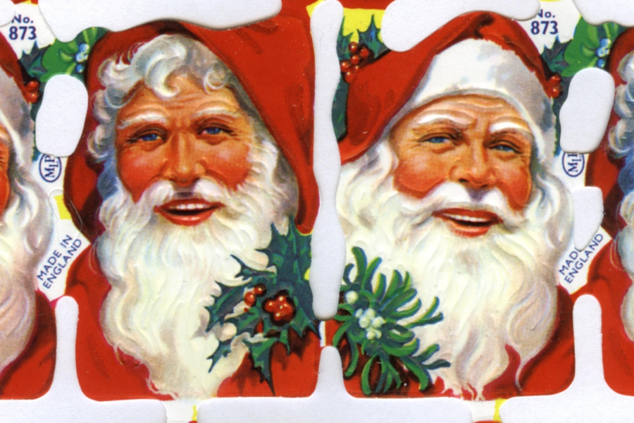 16 Smiling Santa Heads - Reproduction Chromolithograph Embossed Die-Cut Reliefs