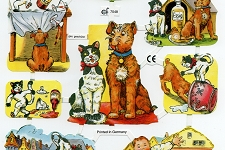 Fun Loving Cats & Dogs Chromolithograph Embossed Die-Cut Reliefs