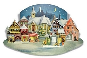 Hand-Crafted Reproduction Advent Calendar - Moonlit Village