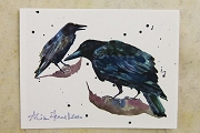 Fine Art Print: Signed! Artist Trading Card: Old Ravens Meet by Alison