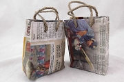 Mini Recycled Newspaper Shopping Bag with Rope Handles