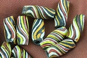 Large Hand Made Vintage Striped Glass African Trade Bead