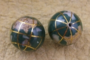 Medium Semi-Precious Stone Inlaid Globe Bead - Malachite 12mm
