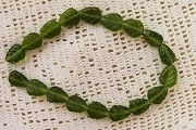 Czech Glass Olive Green Leaf Beads - Strand of 18 beads