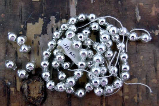Vintage Shiny Silver Mercury Glass Bead