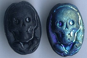 Pressed Blue (and Black) Glass Skull Bead