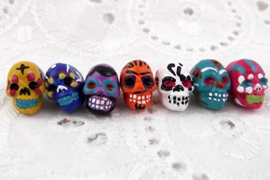 Mini Hand Painted Small Ceramic Sugar Skull Bead