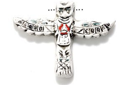 Hand-Painted Totem Pole Bead (White)