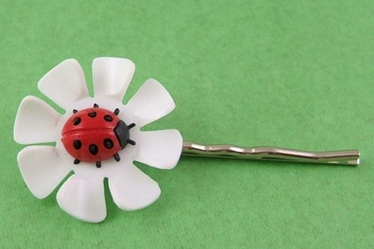 Vintage Lucky Ladybug (Ladybird) and Flower Bobby Pin or Bookmark