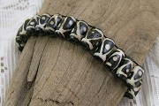 Dark Triangle and Dotted African Trade Bead Stretch Bracelet