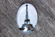 Glass Domed Black and White Eiffel Tower Cabochon