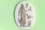 Elegant German Pressed Glass Vintage Cabochon: Goddess or Maiden with Birds (Gold Accents)