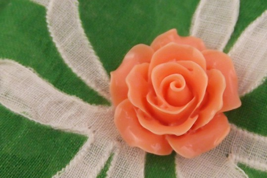 Salmon Pink Plastic Rose Cabochon