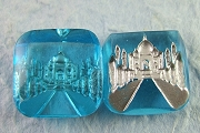 Gorgeous Vintage Aquamarine Glass Intaglio Cabochon of the Taj Mahal