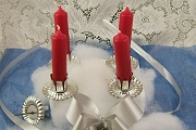 Red Advent Candle Set with Holders from Germany